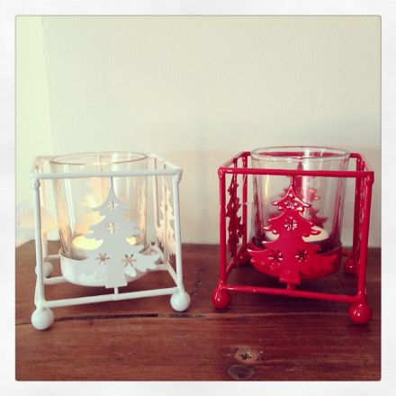 60% off Christmas Tree Metal Candle Holders White & Red
